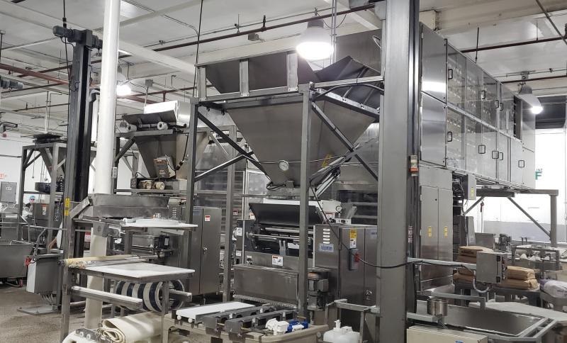 installation of bakery roll line at Guttenplans Frozen Dough Specialists